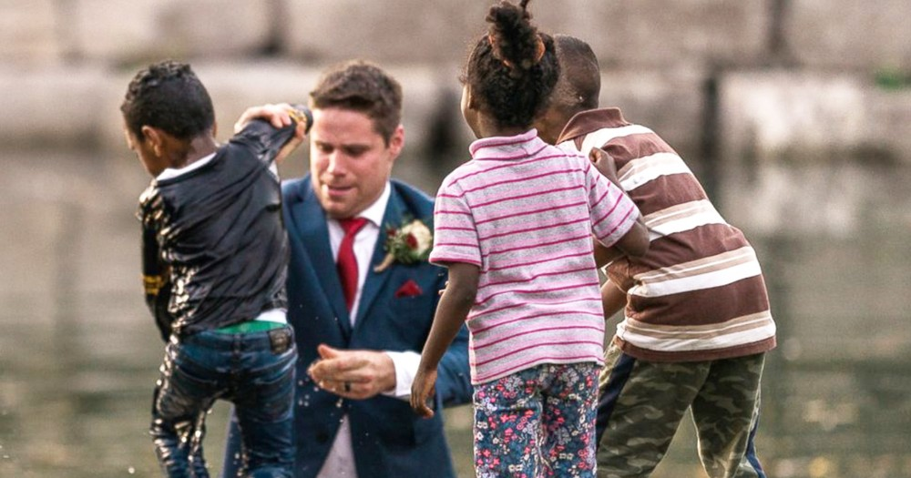 Heroic Groom Rescues Boy From Water During Wedding Day Photoshoot