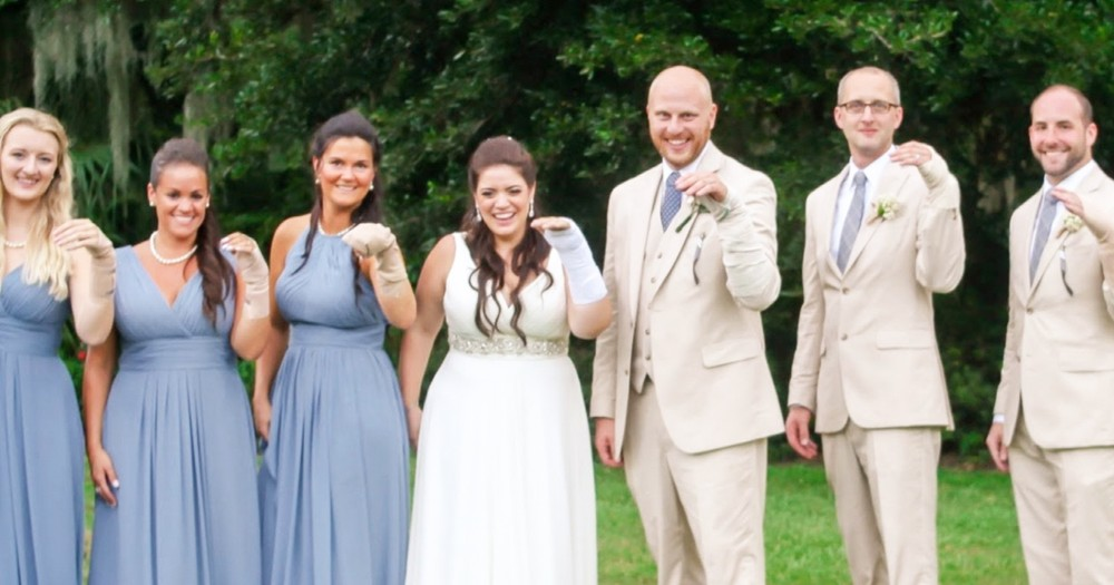Bridal Party's Thoughtful Gesture To Injured Bride On Wedding Day