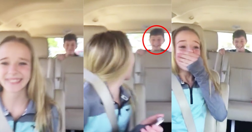 Birthday Girl Gets Surprised By Her Brother While Riding In The Car