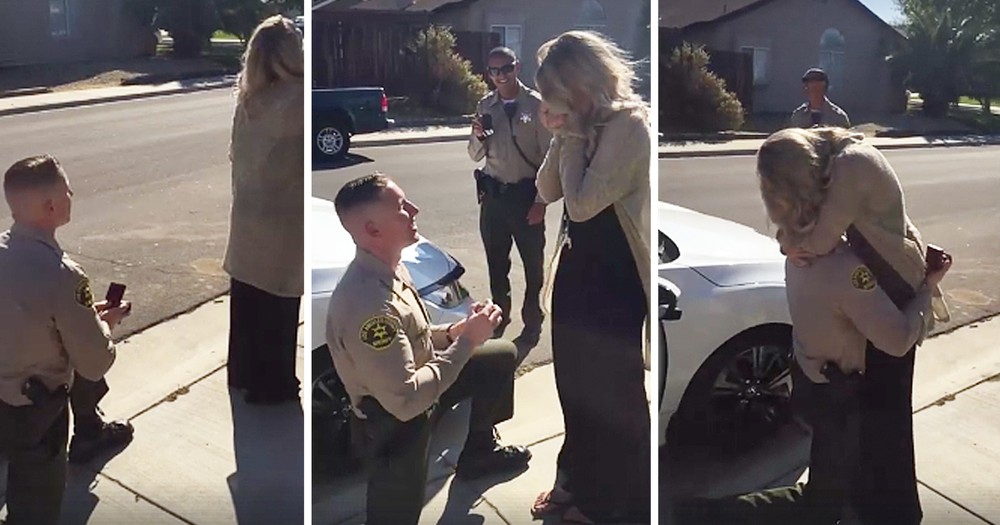 Police Officer Stages Fake Traffic Stop To Propose To His Girlfriend