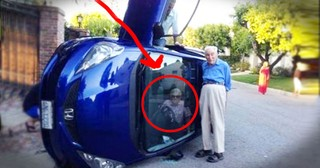What an Elderly Woman Did While She Was Trapped In Her Tipped Over Car is a Sight to See!