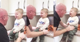Hilarious Grandpa Can't Stop Cracking Up His Grandson