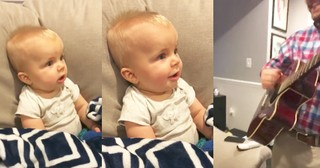 Baby's Adorably Sweet Reaction To Dad Playing Guitar