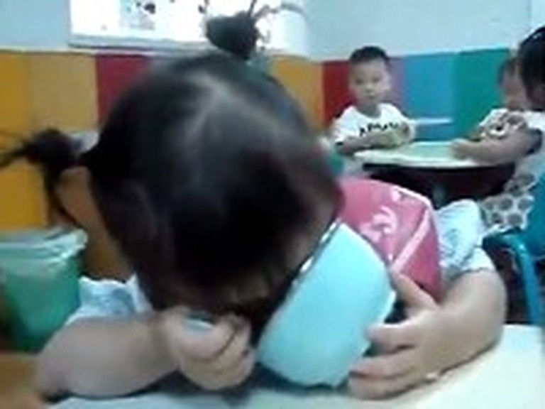Adorable Little Girl Falls Asleep While Eating