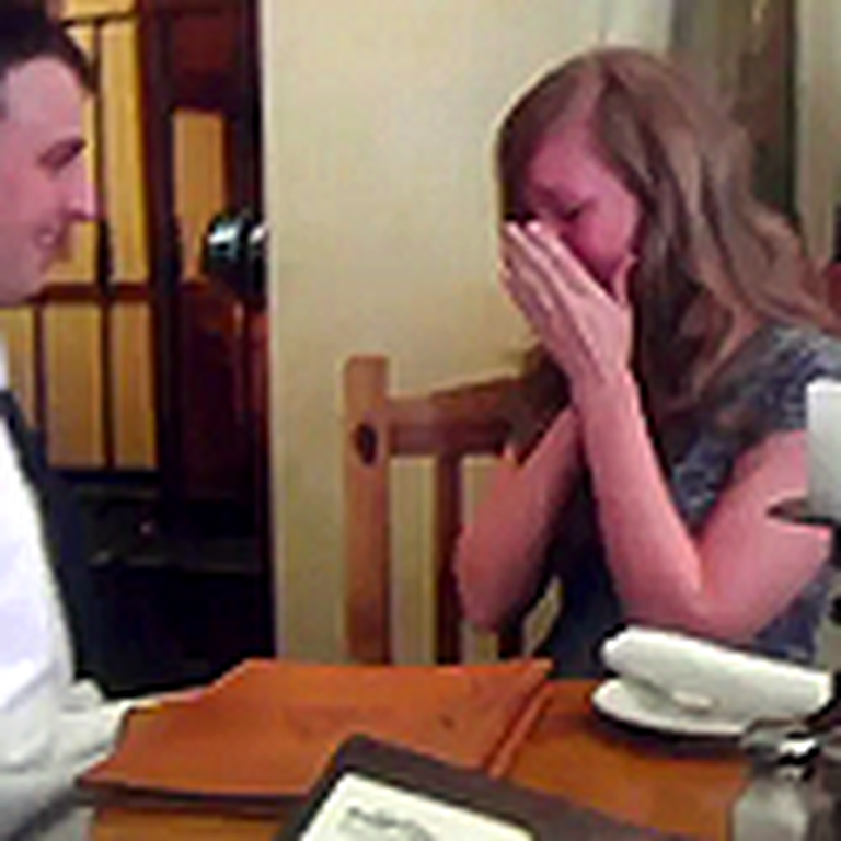 Sailor Surprises his Girlfriend Then Proposes to Her