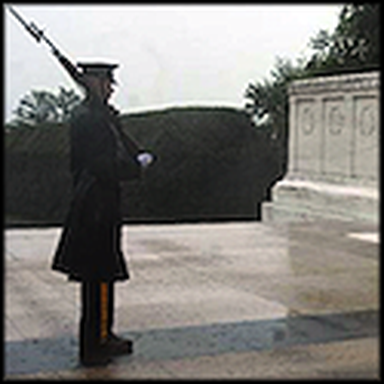 Soldier Guards the Tomb of the Unknown Soldier During Hurricane Irene