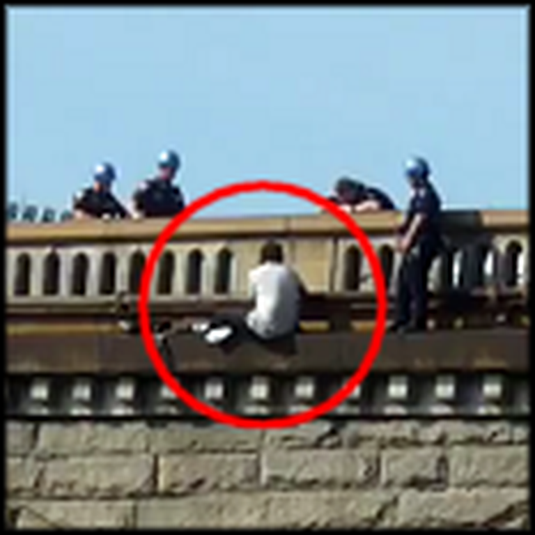 Police Officers Save a Suicidal Man on the Brooklyn Bridge