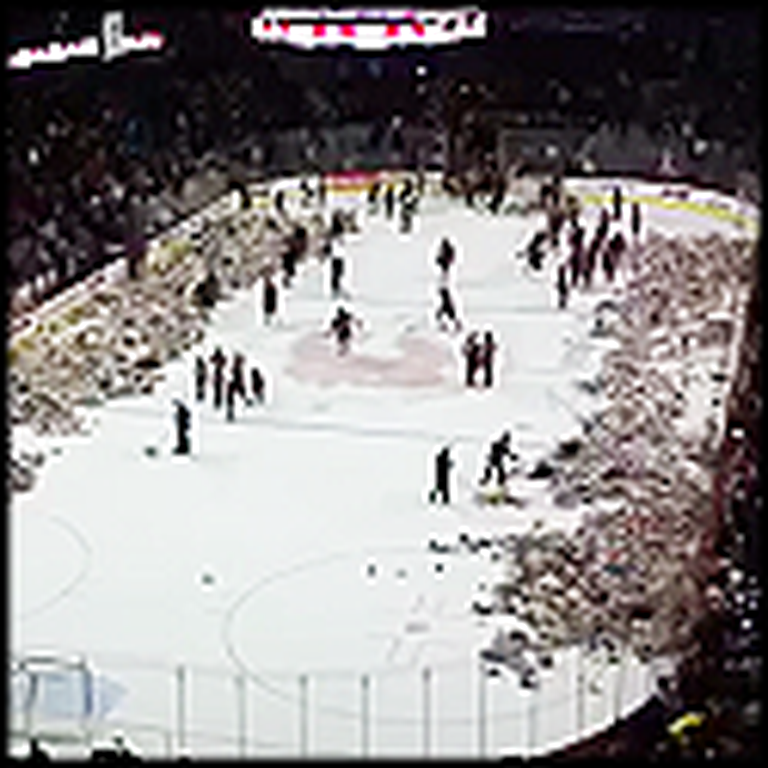 Hockey Fans Throw Over 10000 Teddy Bears on the Ice