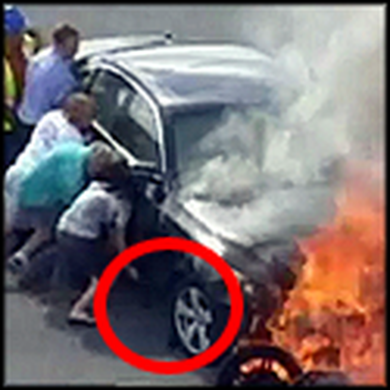 Good Samaritans Lift a Burning Vehicle Off of a Trapped Man