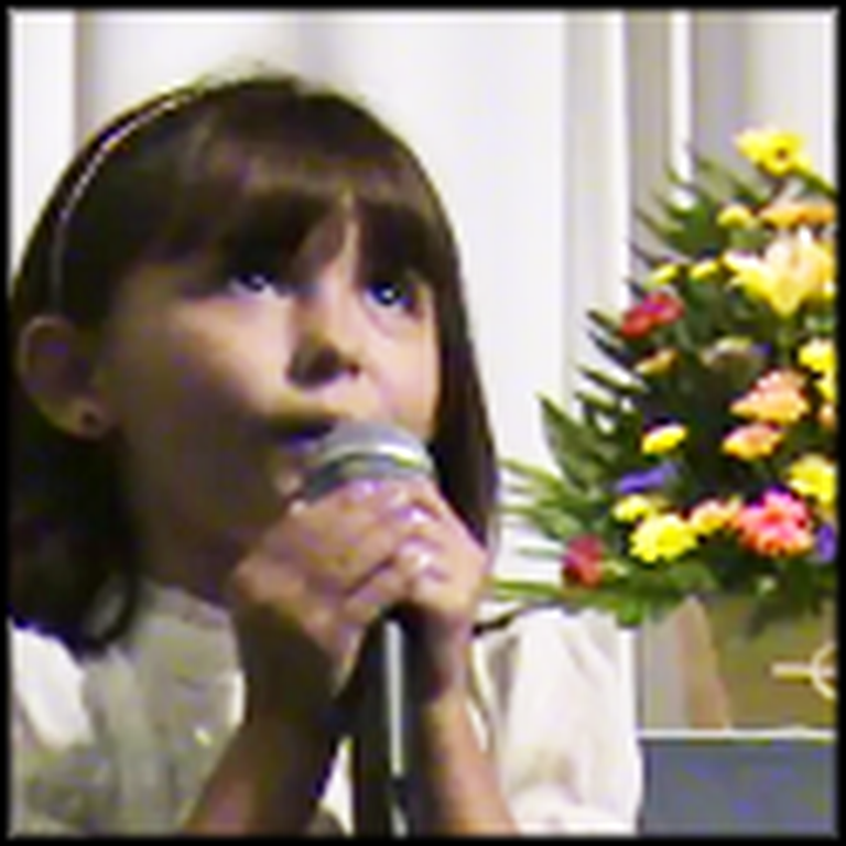 7 Year Old Girl Sings Here I Am Lord in Church