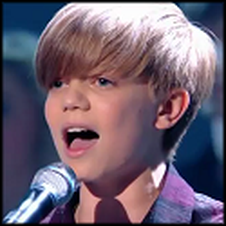 13 Year Old Boy with an Amazing Voice Sings Because of You