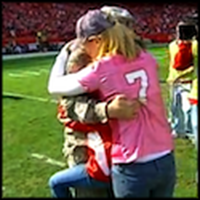 Soldier Surprises his Fiance and Son in Front of a Stadium