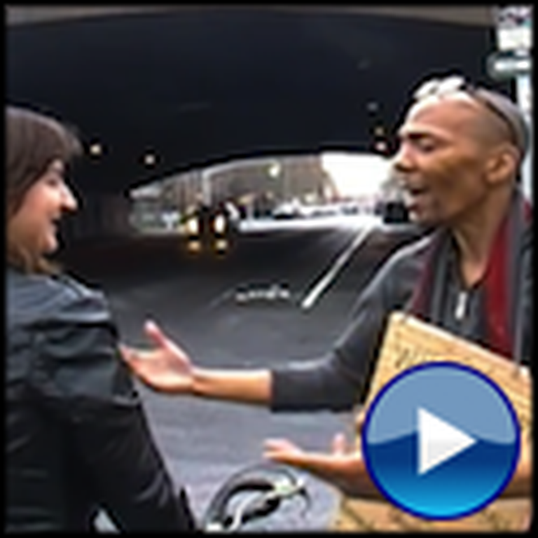 Homeless Man with a Great Voice Sings to a Woman