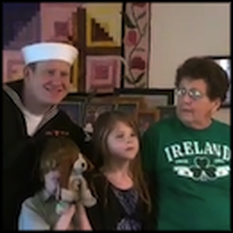 Sailor Photobombs a Family Picture to Surprise his Grandma