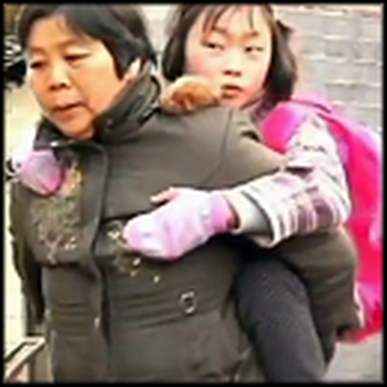 Woman Carries her Disabled Granddaughter Over Mountains to School - Unbelievable