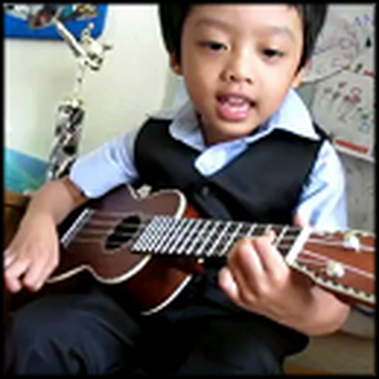 Little Boy Singing and Playing a Ukelele Will Melt Your Heart