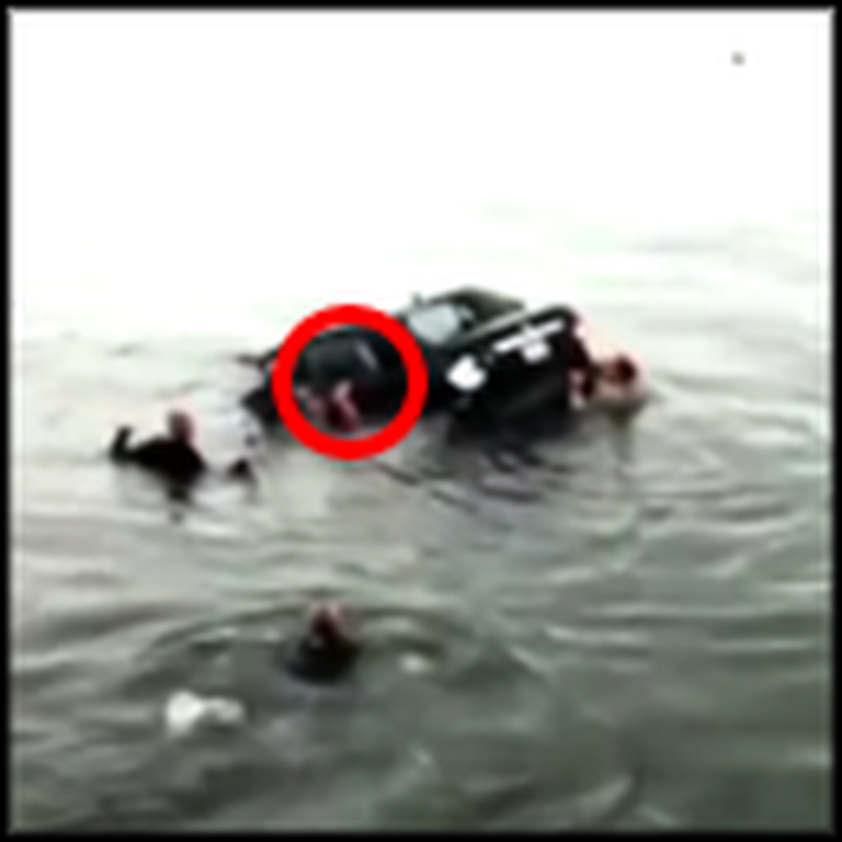 84 Year Old Sinking in her Car is Rescued At the Last Possible Second