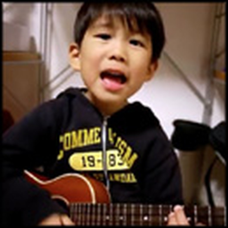 Adorable Little Boy Plays I'm Yours on the Ukulele