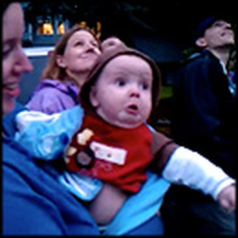 Baby Sees Fireworks for the Very First time