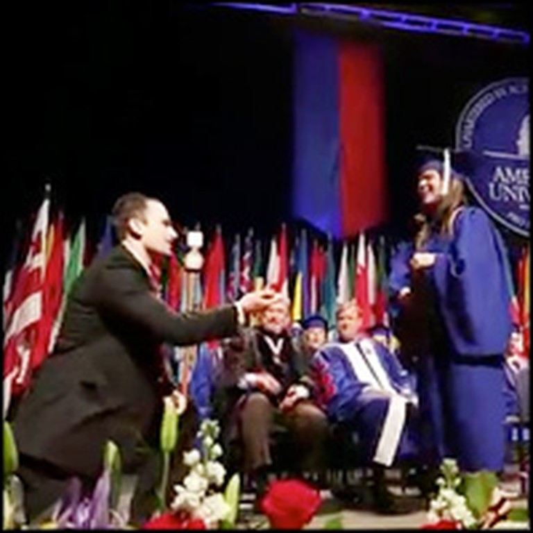 Couple Begins Their Life Together at College Graduation