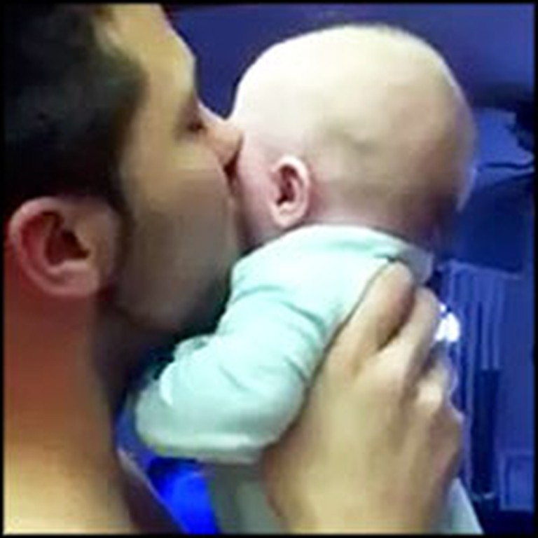 Adorable Baby's Funny Reaction to Daddy's Kisses