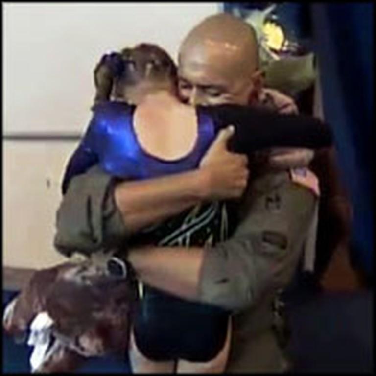Soldier Daddy Interrupts Gymnastics to Surprise His Daughter