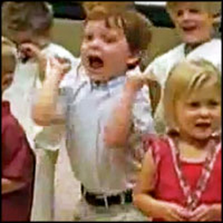 Blessed Little Boy Becomes Overjoyed in Sunday School
