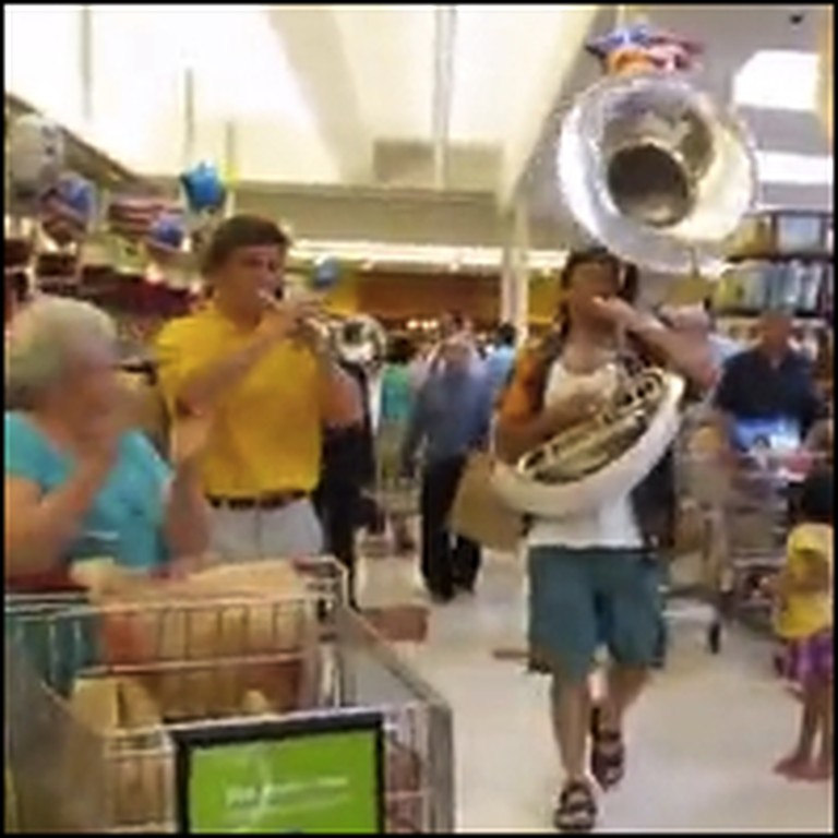 Independence Day Flash Mob Surprises Grocery Shoppers