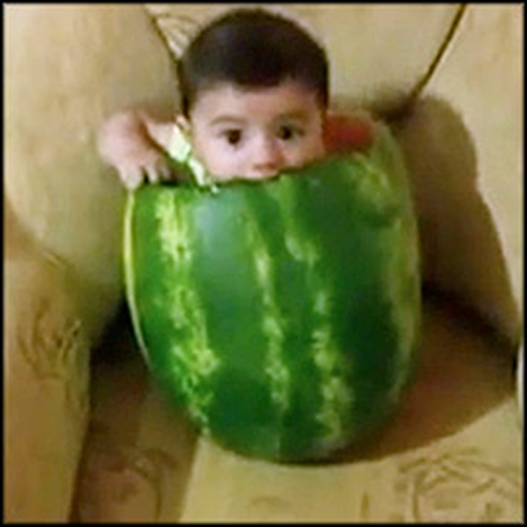 Sweet Baby Eats a Watermelon in the Funniest Way - From the Inside
