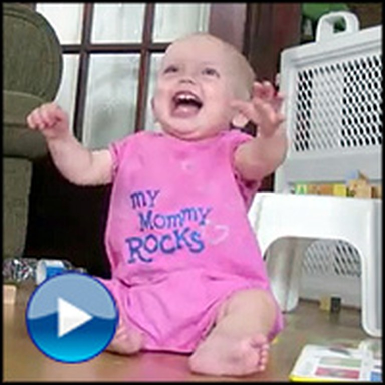 Cute Baby Giggles Uncontrollably at Daddy's Juggling
