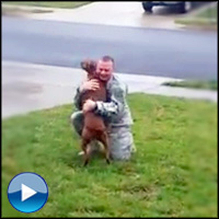Dog Cries with JOY After Her Soldier Returns From Long Deployment