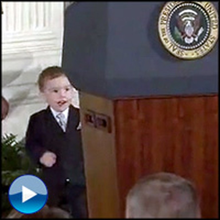 Soldier's Son Steals the Spotlight From President Obama... Just Too Cute!