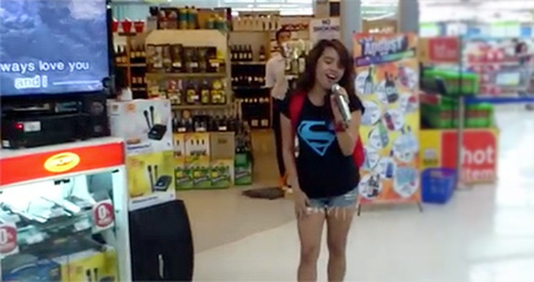 A Girl Steps Up to a Karaoke Machine - And FLOORS Everyone