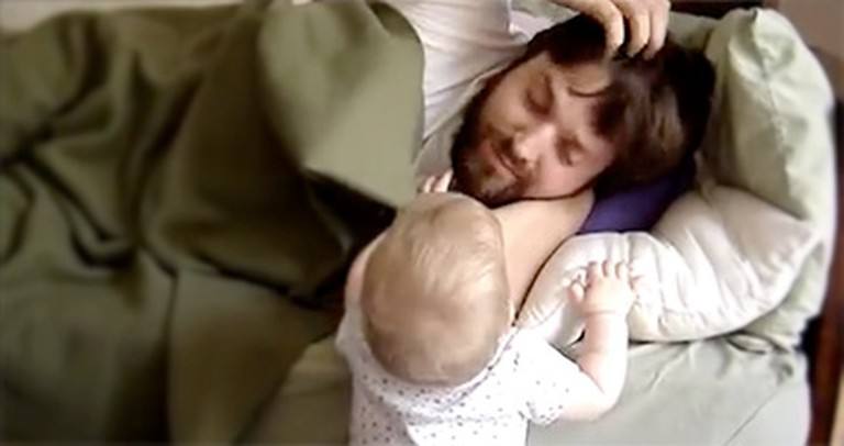 This Little Girl Loves Daddy So Much, She Won't Even Let Him Nap