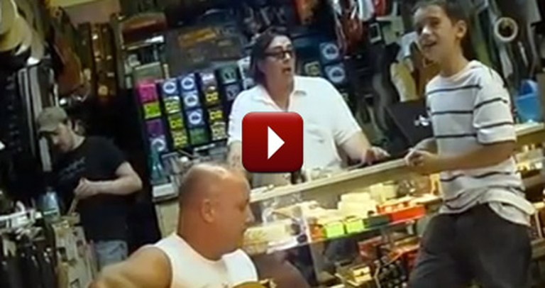 Little Boy Shocks a Guitar Store Owner with his Incredible Voice - Wow