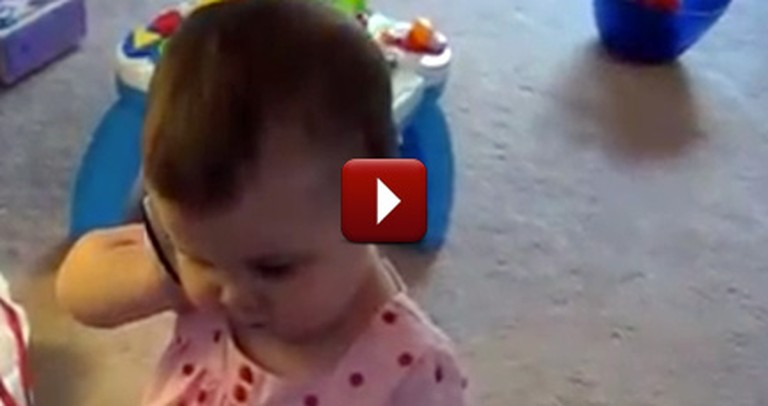 Adorable Baby Talks on the Phone to Her Daddy - and It's So Cute!
