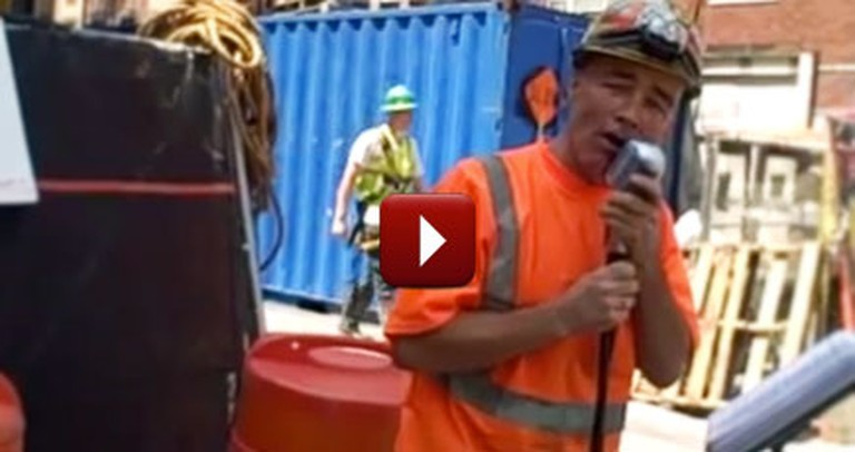 Construction Worker Shocks Passers By ... and Serenades Them