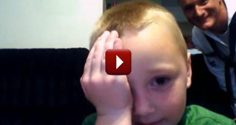 Little Boy Gets a Heartwarming Surprise While on Web Cam