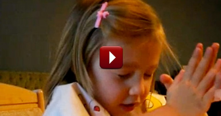 Little Girl Thanks God for her Pizza - So Cute