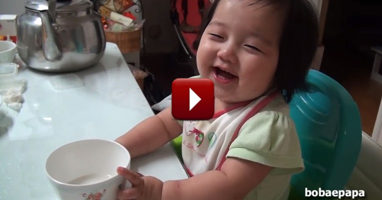 Mommy Teaches Table Manners to Precious 1-Year-Old