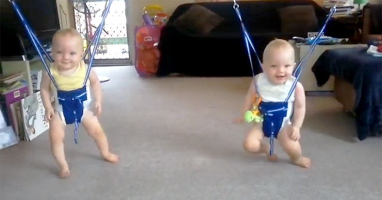 Adorable Baby Twins Dance in a Jolly Jumper to Johnny Cash