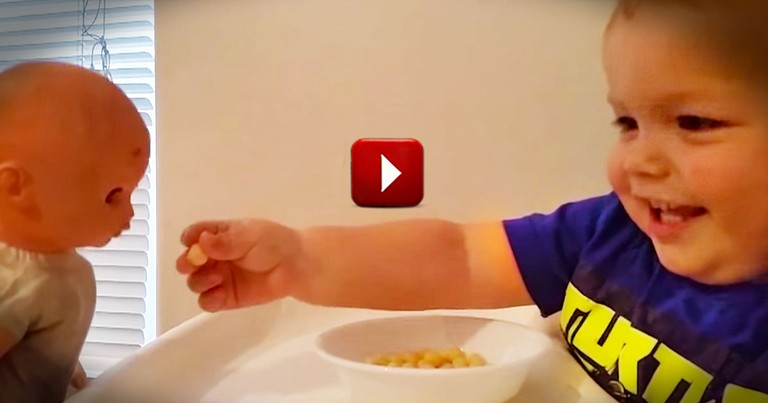 How This Baby Shares is So Sweet. But The Real Treat Is His Giggle!