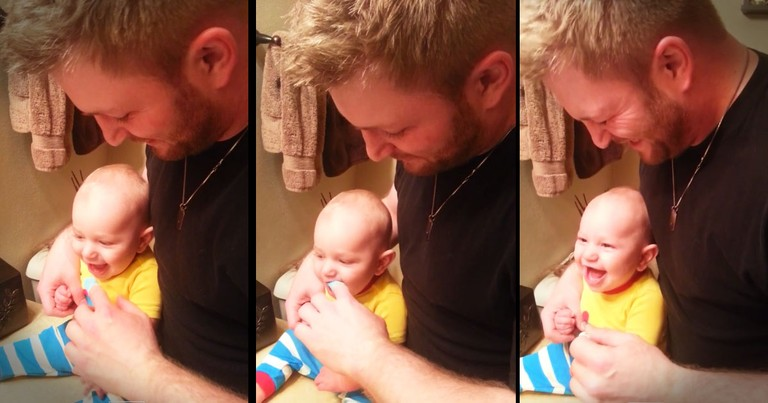 If You Think Dad's Reaction Is Great Just Wait For This Baby's Laugh! So Funny.