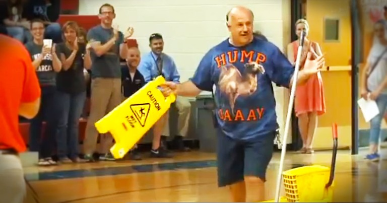 This Janitor Had Never Met His Grandson.  Until 100s Of Teens Gave Him A Surprise He'll Never Forget
