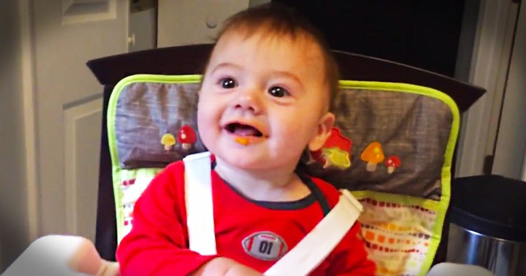 This Baby's Dinner Surprise Is The Cutest! His Reaction of Joy Is Like A Giant Spoonful of Sunshine!