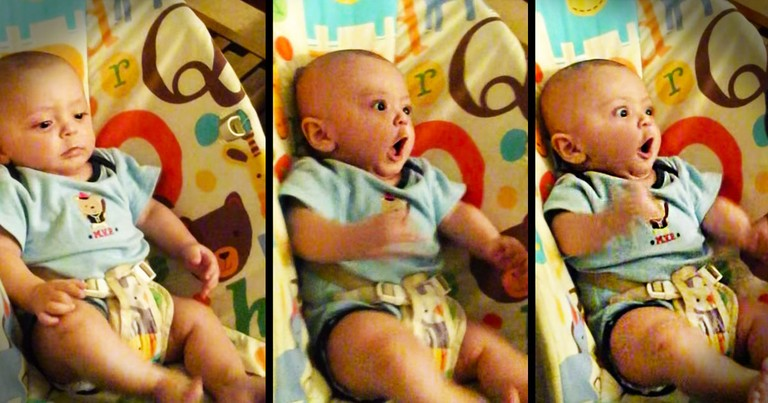 Apparently, This Remote Control Has A Happy Button. And It's Working Overtime For This Baby--LOL!