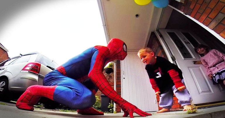 Dad Dresses Up Like Spiderman For His Son's Last Birthday