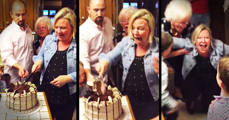 She Cuts Into The Cake And Nearly Falls On The Floor From THIS Surprise--WOW!