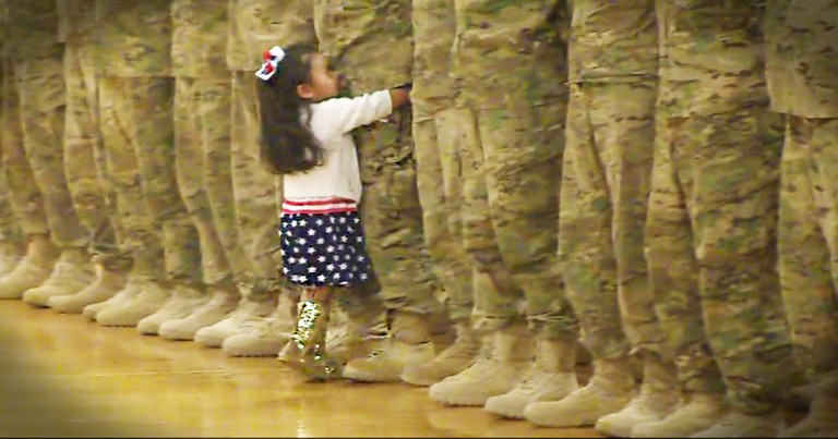 Little Girl Ignores Military Protocol For The BEST Reason