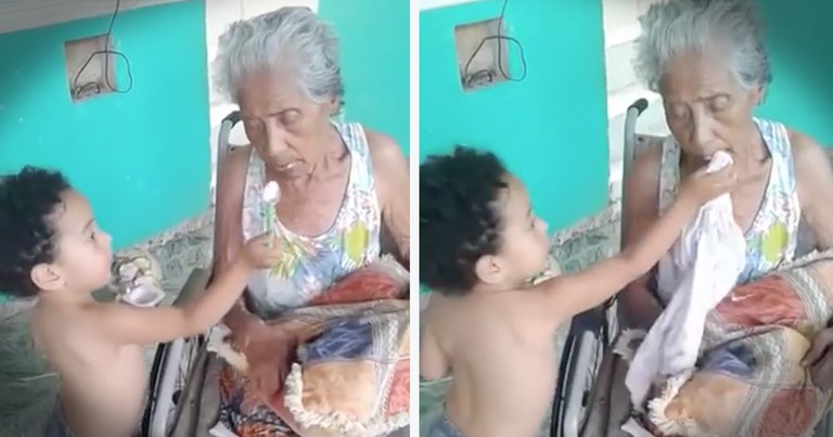 Little Boy Feeding His Ailing Grandmother Will Melt Your Heart